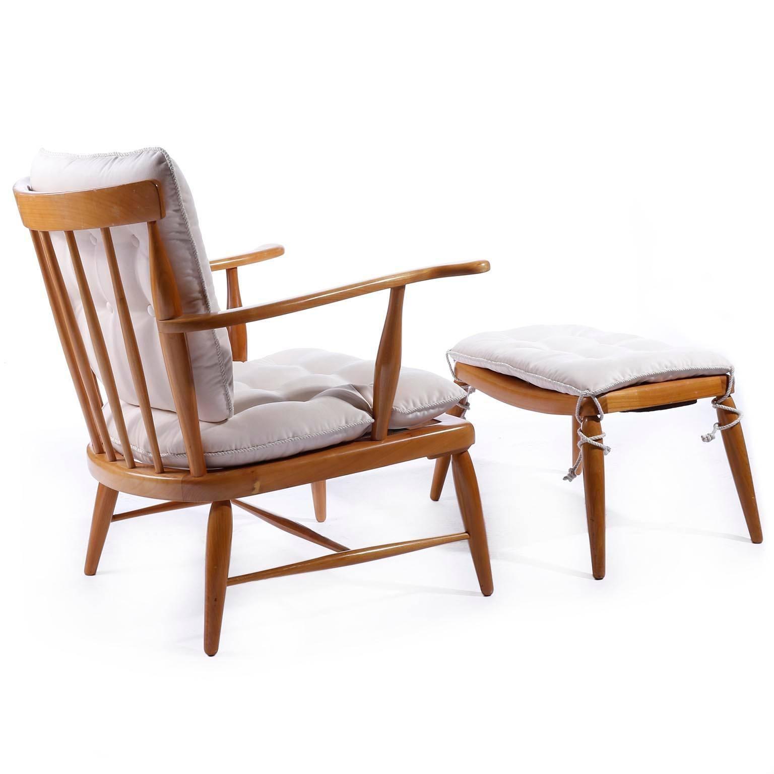 Mid Century Modern Armchair Lounge Chair Ottoman By Anna Lülja Praun, Wood  Velvet