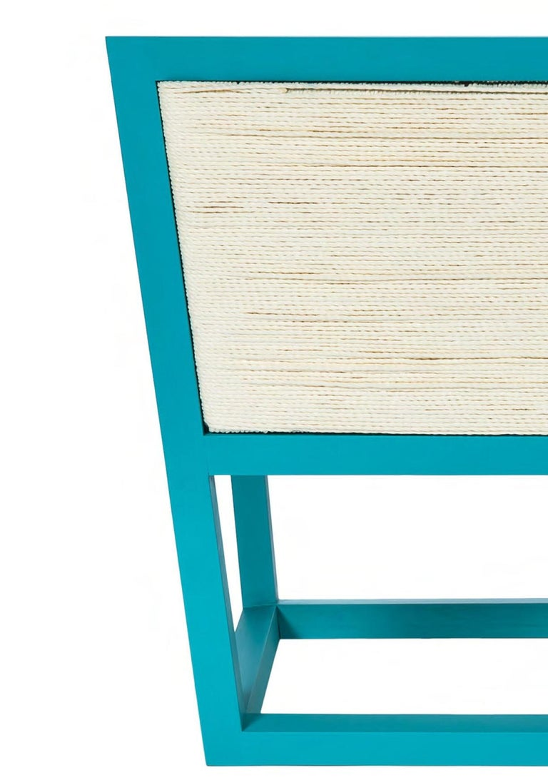 Italian Armchair Mediterraneo in lacquered wood and rope, made in Italy For Sale