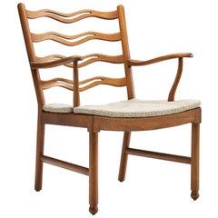 "Armchair ""Model 1755"" by Ole Wanscher for Fritz Hansen, Denmark, 1940s"