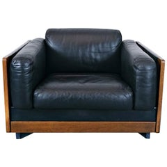"""Armchair Model """"920"""" by Afra & Tobia Scarpa for Cassina, Black Leather, 1960s"""