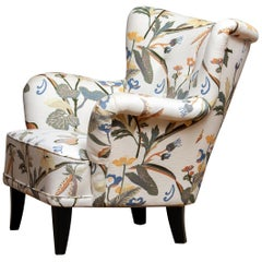 "Armchair Model ""Lalla"" by Ilmari Lappalainen for Asko Covered with Floral Print"