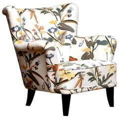 """Armchair Model """"Lalla"""" by Ilmari Lappalainen for Asko Covered with Floral Print"""
