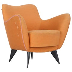 "Giulia Veronesi ""Perla"" Orange Armchair, Produced by I.S.A. Bergamo, 1952"
