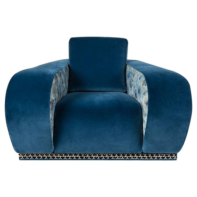 Armchair Napoli EticaLiving, Blue Fabric and Velvet, Made in Italy