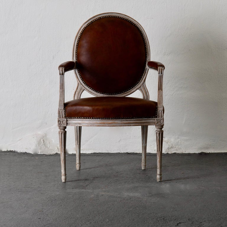 Armchair Neoclassical French White Signed Chevigny France ...