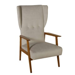 Armchair Oak Foam Padding Velvet Vintage Manufactured in Italy, 1950s
