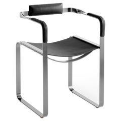 Armchair, Old Silver Steel and Black Saddle Leather, Contemporary Style