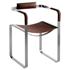 Armchair, Old Silver Steel and Dark Brown Saddle Leather, Contemporary Style