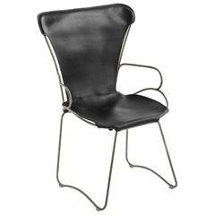 HUG Armchair Old Silver Steel and Vegetable Tanned Black Saddle Leather