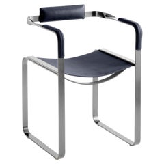 Armchair, Old Silver Steel & Navy Blue Saddle Leather, Contemporary Style