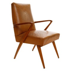 Armchair, Patinated Cognac Leather Wood, Austria, 1950s