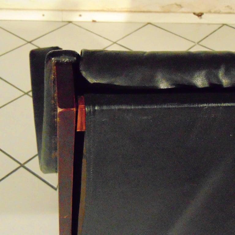 Metal Carlo de Carli Rosewood and Black Leather Armchair