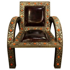 Armchair Royal Style Camel Bone, Leather and Brass Inlay