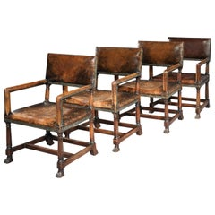 Armchair, Set, Four, Walnut, Leather, Upholstered, Renaissance, Paw Feet, Tozer
