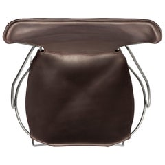 Armchair, Silver Steel and Dark Brown Saddle Leather, HUG Collection
