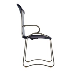 Armchair, Silver Steel and Navy Saddle Leather, HUG Collection