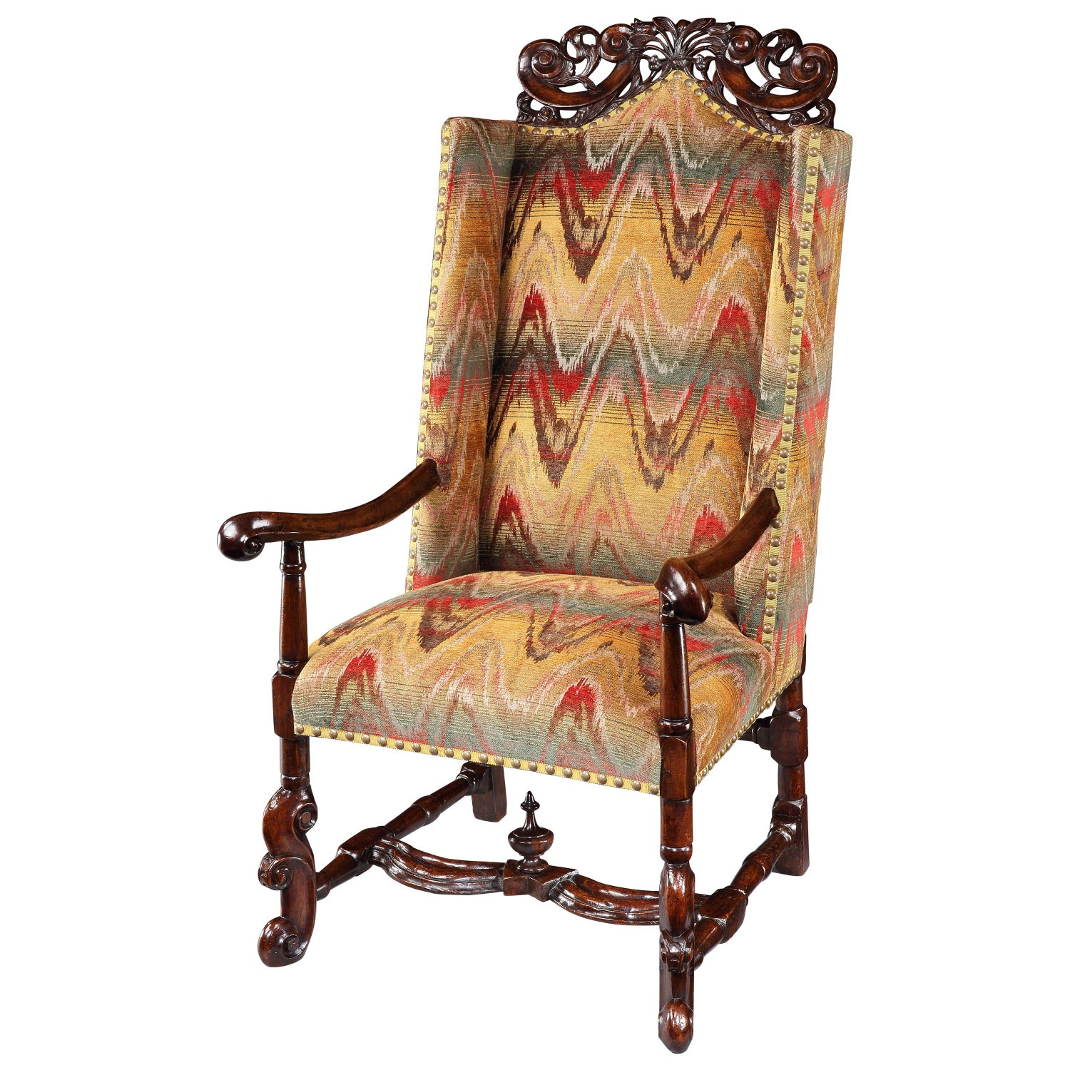 Armchair Wing Sleeping Walnut Upholstered Bargello Cresting Baroque H-Stretcher