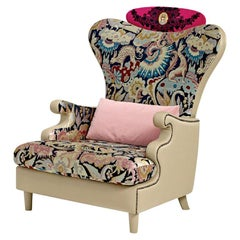 Armchair Solid Timber Plywood Upholstered Legs Decorative Micromosaic Medallion
