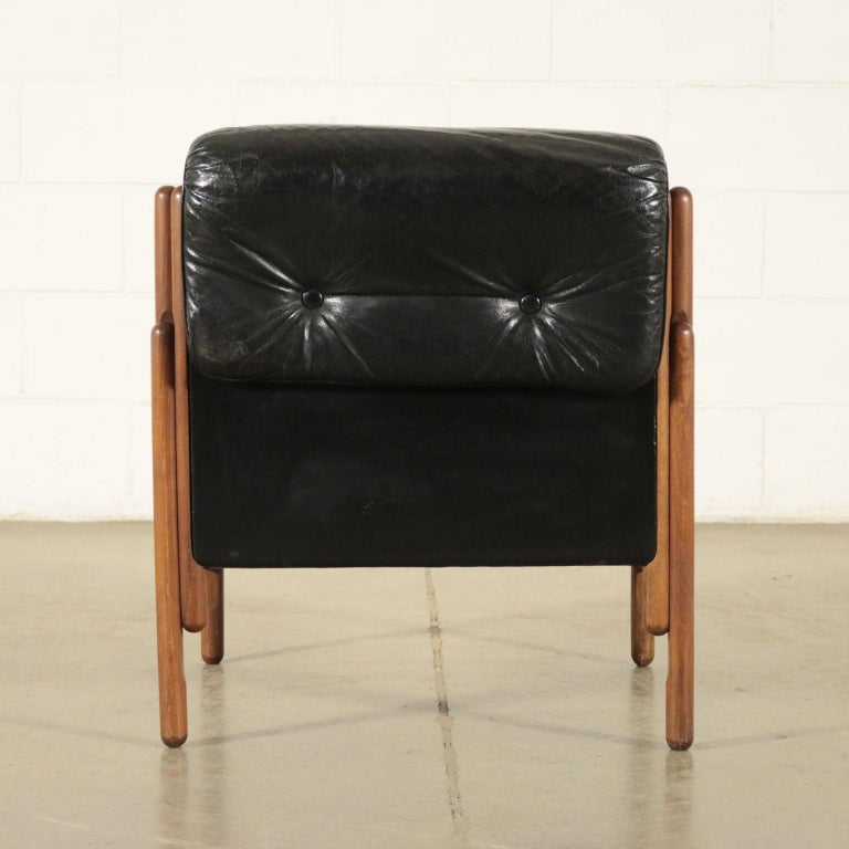 Armchair Stained Beech Foam Leatherette, Italy, 1960s For Sale 2