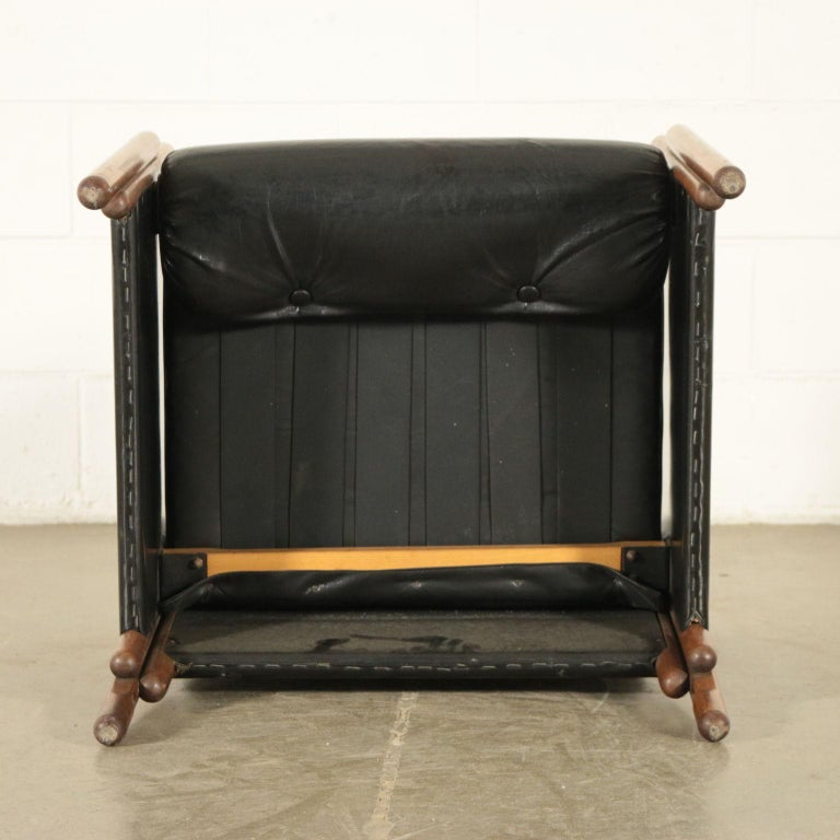 Armchair Stained Beech Foam Leatherette, Italy, 1960s For Sale 3