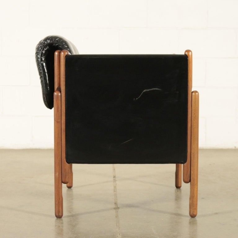 Mid-Century Modern Armchair Stained Beech Foam Leatherette, Italy, 1960s For Sale