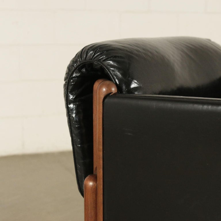 Italian Armchair Stained Beech Foam Leatherette, Italy, 1960s For Sale