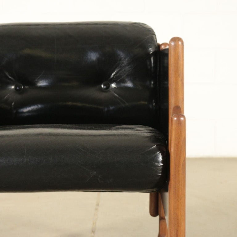 Armchair Stained Beech Foam Leatherette, Italy, 1960s In Good Condition For Sale In Milano, IT