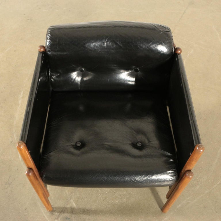 Faux Leather Armchair Stained Beech Foam Leatherette, Italy, 1960s For Sale
