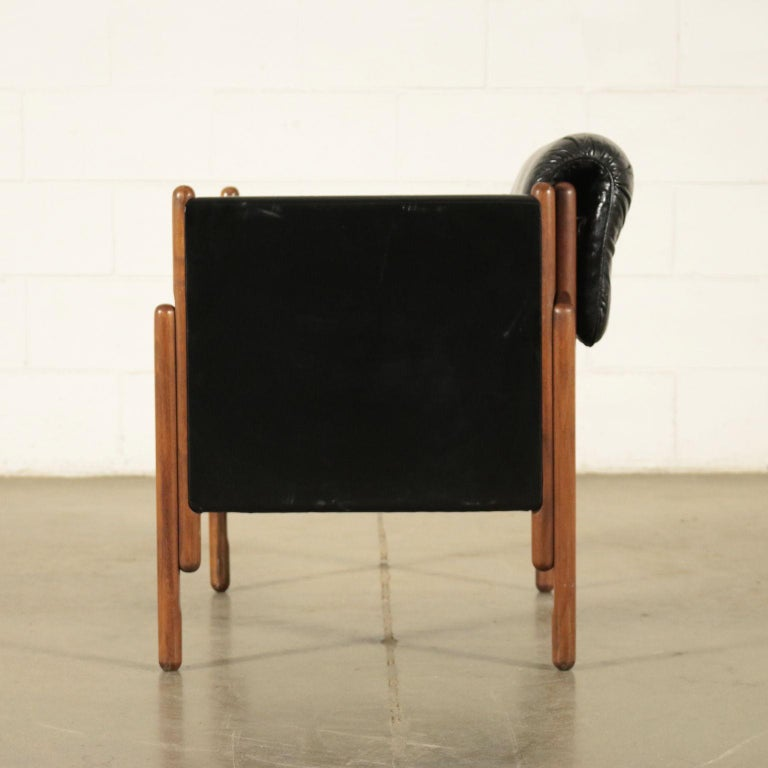 Armchair Stained Beech Foam Leatherette, Italy, 1960s For Sale 1