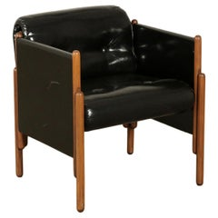 Armchair Stained Beech Foam Leatherette, Italy, 1960s