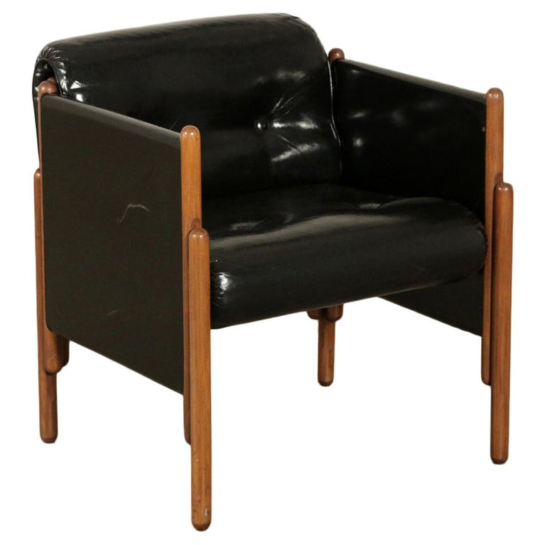 Armchair Stained Beech Foam Leatherette, Italy, 1960s For Sale