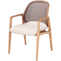 Armchair, Cane Backrest and Offwhite Fabric Seat Dining Armchair Blumenau