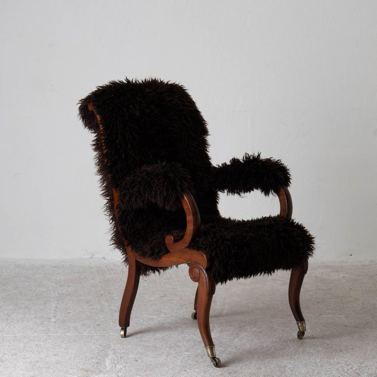 Armchair Sweden Late 19th Century Brown Swedish For Sale 3