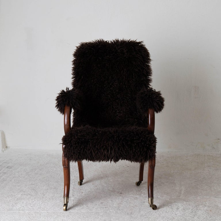 Armchair Sweden Late 19th Century Brown Swedish For Sale 4