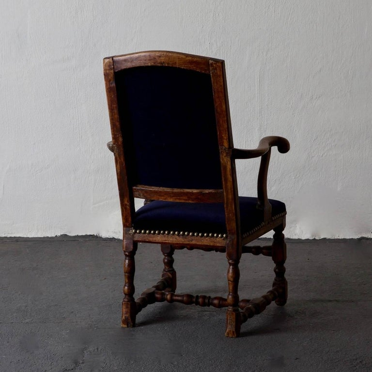 Armchair Swedish Baroque Oak Sweden In Good Condition For Sale In New York, NY