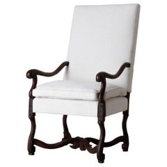Armchair Swedish Baroque Period 1650-1750 White Fabric Sweden