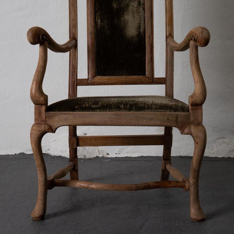 Armchair Swedish Baroque Wood Green Velvet Sweden For Sale 6