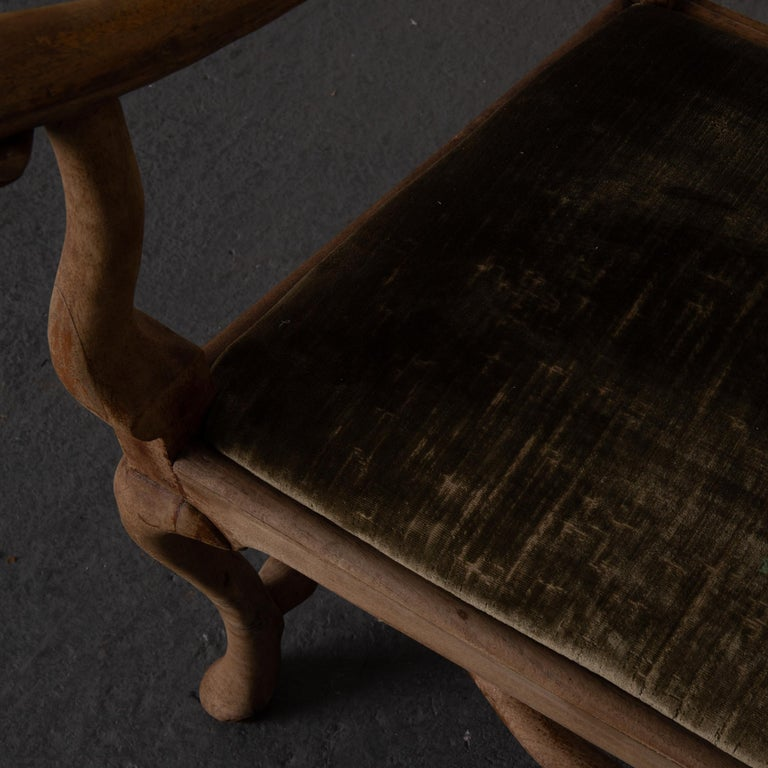 Armchair Swedish Baroque Wood Green Velvet Sweden For Sale 7