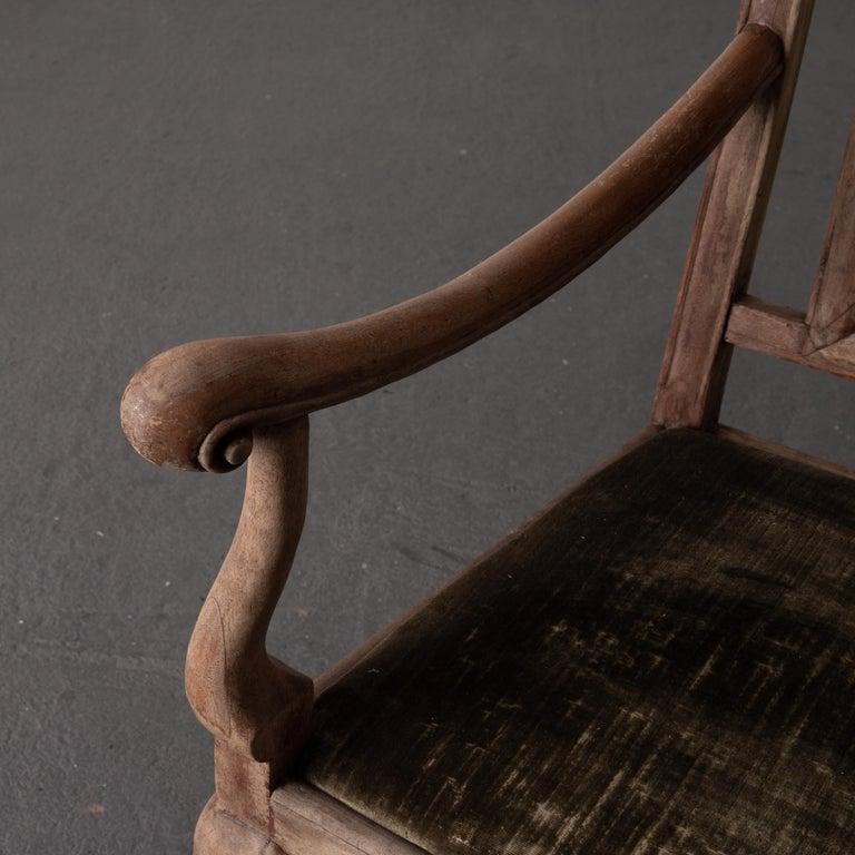 Armchair Swedish Baroque Wood Green Velvet Sweden For Sale 3