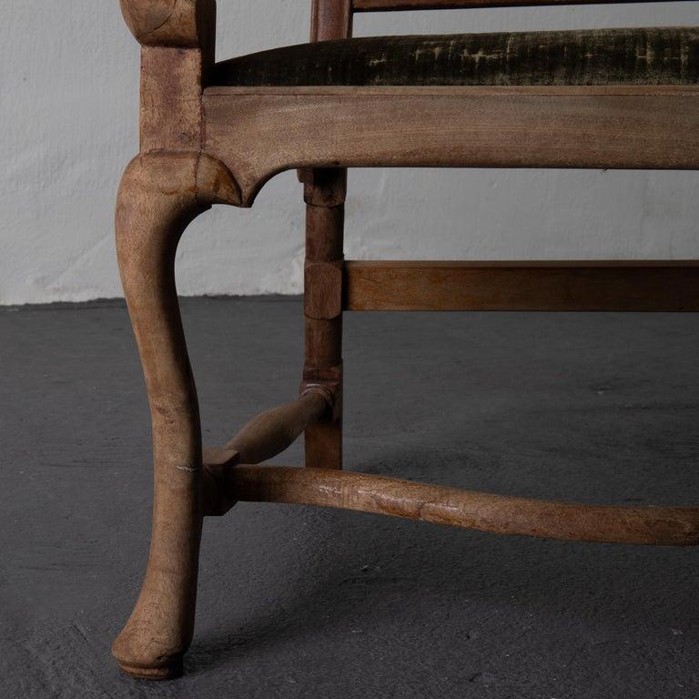 Armchair Swedish Baroque Wood Green Velvet Sweden For Sale 4