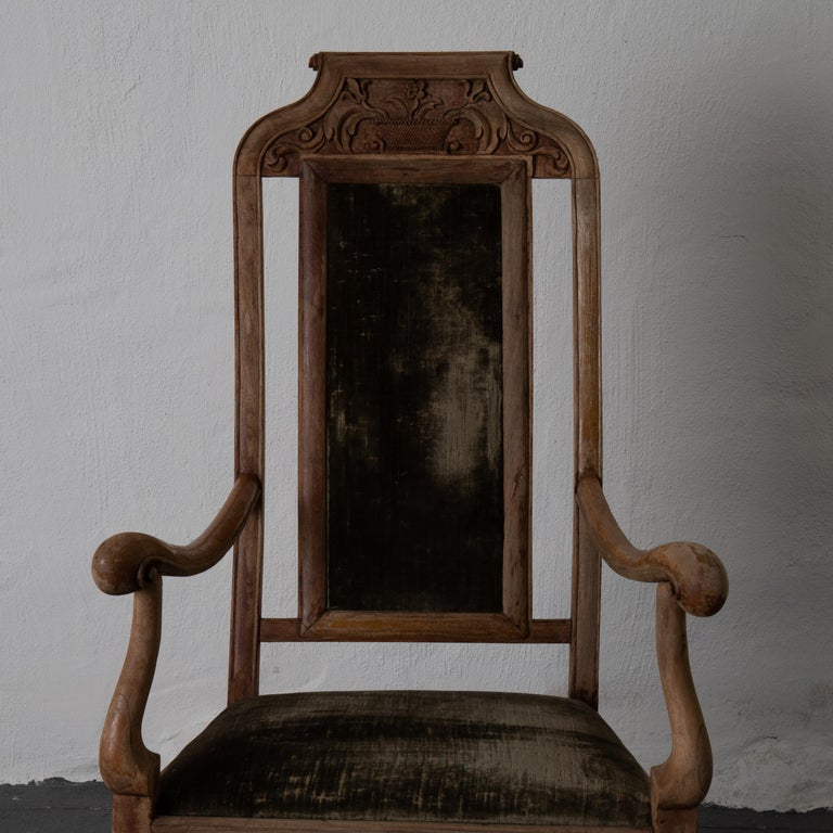 Armchair Swedish Baroque Wood Green Velvet Sweden For Sale 5