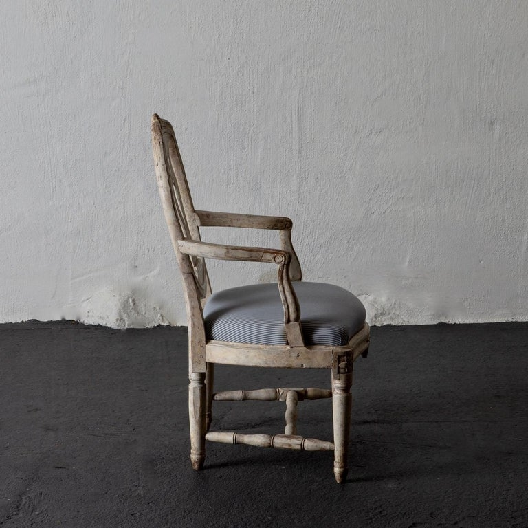 Armchair Swedish Gustavian 1775-1790 White Washed, Sweden In Good Condition For Sale In New York, NY