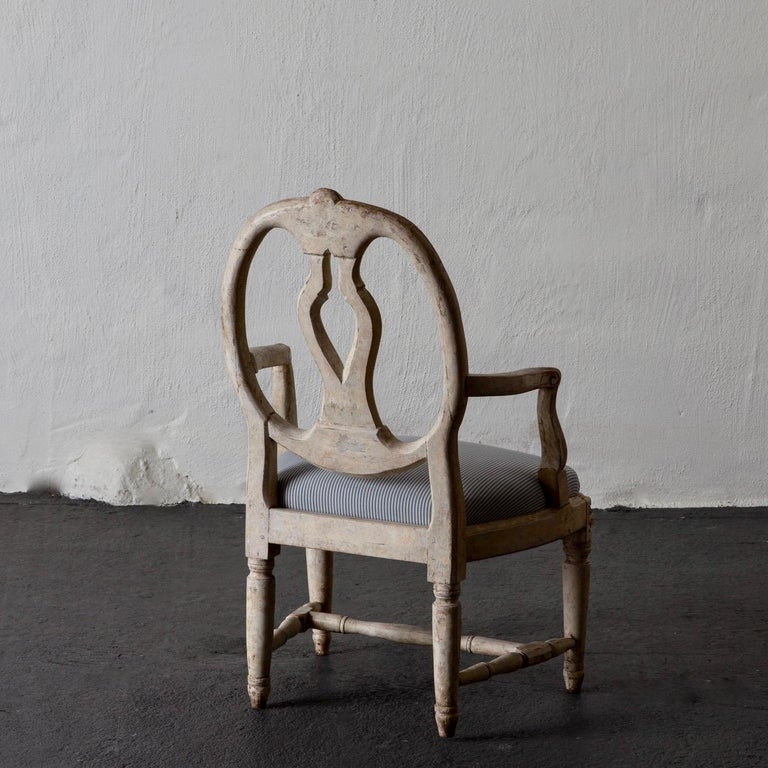 18th Century Armchair Swedish Gustavian 1775-1790 White Washed, Sweden For Sale