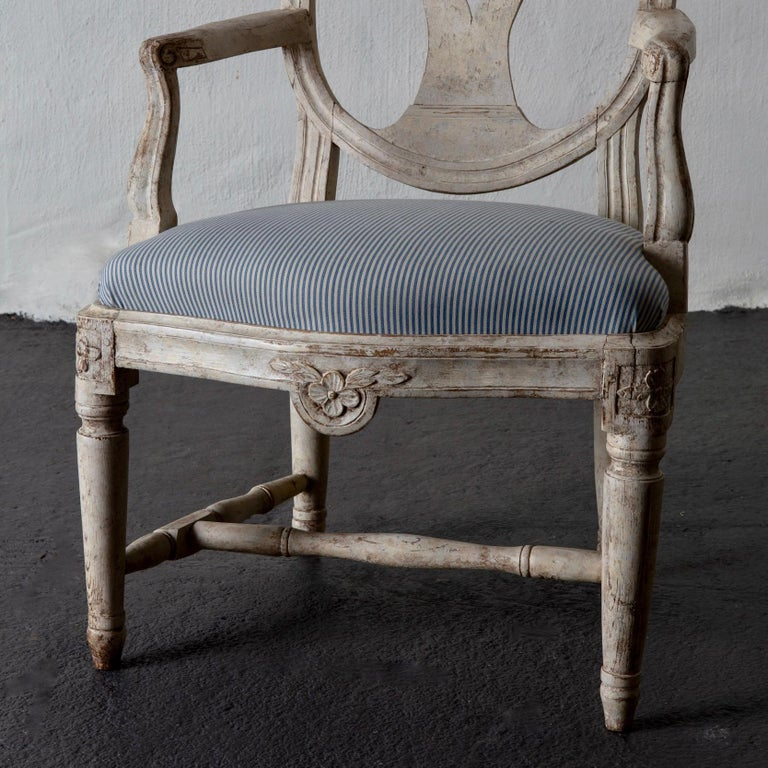 Armchair Swedish Gustavian 1775-1790 White Washed, Sweden For Sale 1