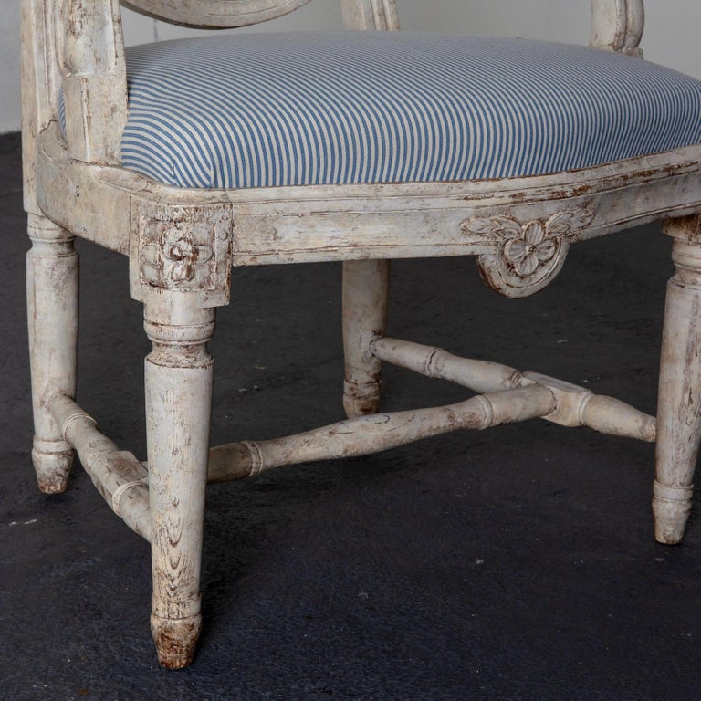 Armchair Swedish Gustavian 1775-1790 White Washed, Sweden For Sale 3