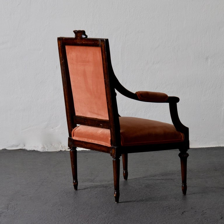 Armchair Swedish Gustavian Dark Apricot Velvet, Sweden In Good Condition For Sale In New York, NY