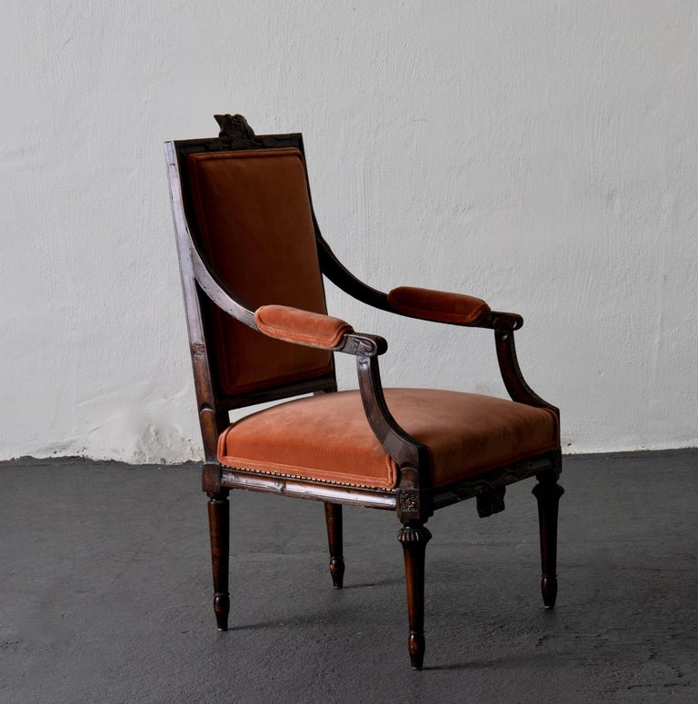 19th Century Armchair Swedish Gustavian Dark Apricot Velvet, Sweden For Sale