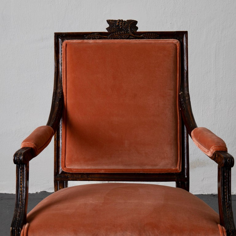 Armchair Swedish Gustavian Dark Apricot Velvet, Sweden For Sale 1