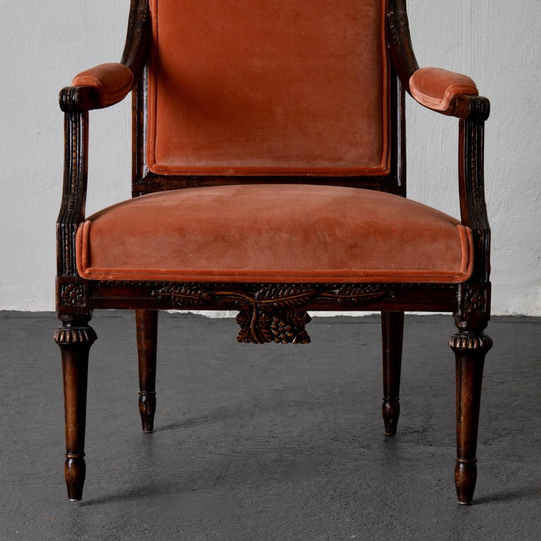 Armchair Swedish Gustavian Dark Apricot Velvet, Sweden For Sale 2