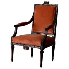 Armchair Swedish Gustavian Dark Brown Velvet, Sweden